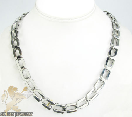 Mens baraka 18k yellow gold & white stainless steel necklace