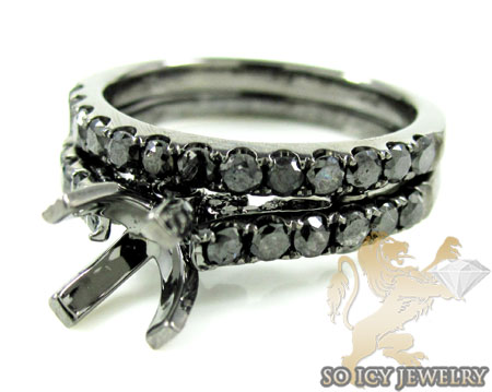 14k black gold black diamond semi mount set 1.40ct