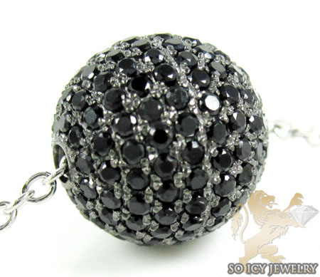 White sterling silver black cz bead chain 2.00ct