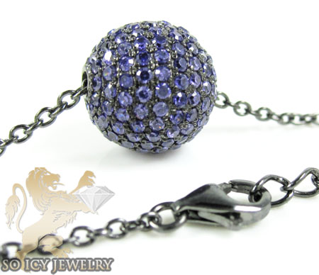 Black sterling silver purple cz bead chain 2.00ct