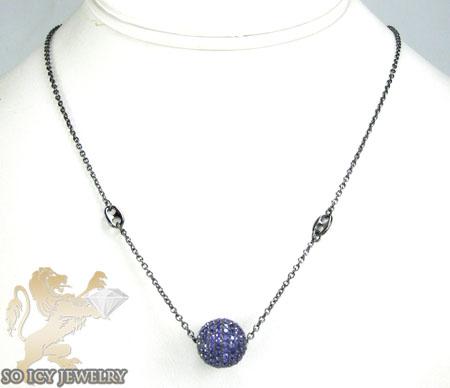 Black sterling silver purple cz bead chain 2.00ct