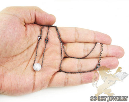 Black sterling silver white cz bead chain 2.00ct