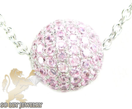 White sterling silver pink cz bead chain 1.75ct
