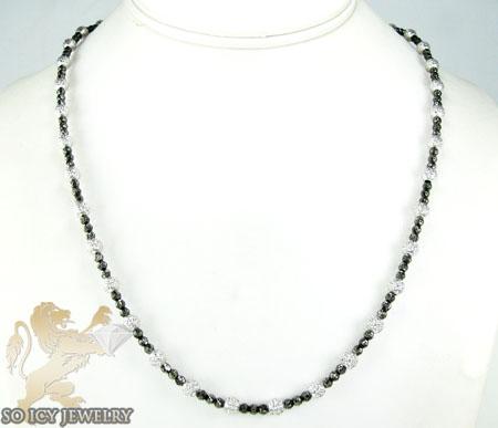 14k black & white gold diamond cut bead chain 20 inch 2.5mm