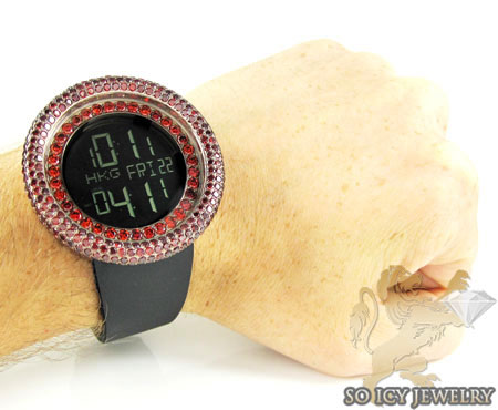Red sapphire rose techno com kc digital watch 10.00ct