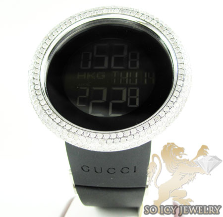 Mens diamond igucci digital big bezel white stainless steel watch 12.00ct