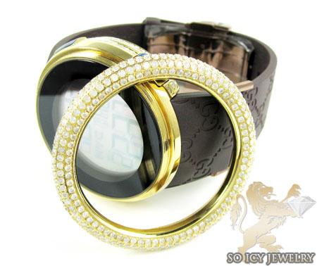 Mens diamond igucci digital big bezel yellow stainless steel watch 12.00ct
