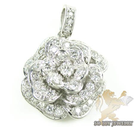 Ladies 14k white gold diamond flower pendant 2.00ct