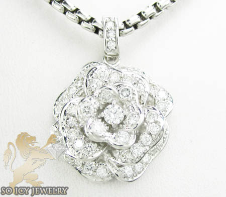 Ladies 14k white gold diamond flower pendant 2.00ct