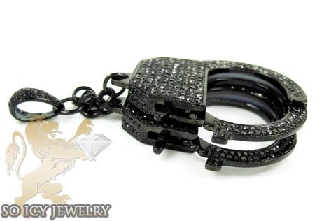 Black sterling silver black diamond handcuff pendant 3.10ct