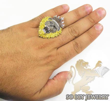 White sterling silver diamond lion king ring 4.00ct