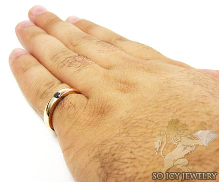 10k gold black diamond enamel wedding band 0.18ct