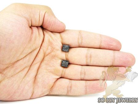 10k black gold black diamond earrings 0.70ct