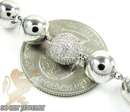 White sterling silver round diamond bead ball chain 3.85ct