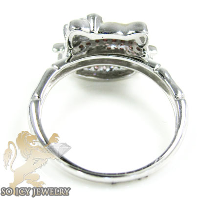 Ladies 10K White Gold Hello Kitty Diamond Ring 0.25CT