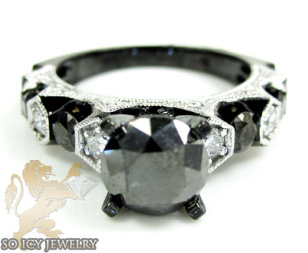 Ladies 10k black gold diamond engagement ring 3.41ct