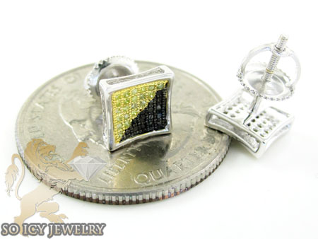 .925 white sterling silver canary & black diamond earrings 0.35ct