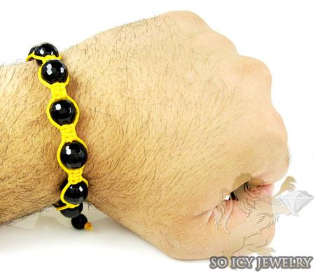 Macramé black onyx faceted bead yellow rope bracelet