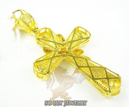 Mens yellow sterling silver canary diamond cross 1.75ct