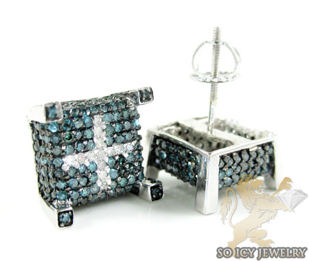 95b7e90b90926 14K White Gold Blue & White Diamond Cube Earrings 1.25CT
