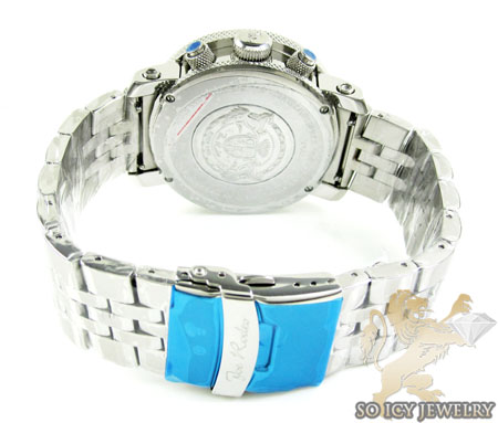 Mens joe rodeo white stainless steel apollo diamond watch 1.70ct
