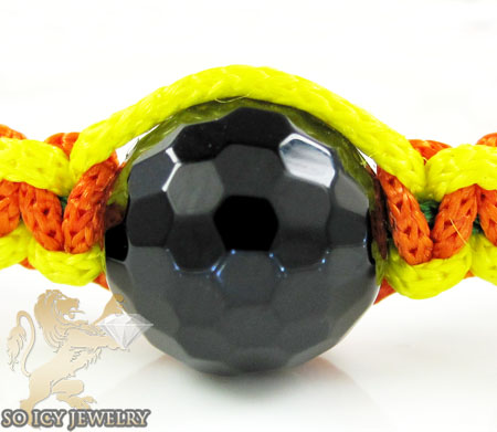Macramé black onyx faceted bead yellow & orange rope bracelet
