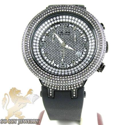 Mens joe rodeo black stainless steel master diamond watch 6.50ct