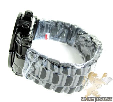 Mens joe rodeo black stainless steel junior diamond watch 2.50ct