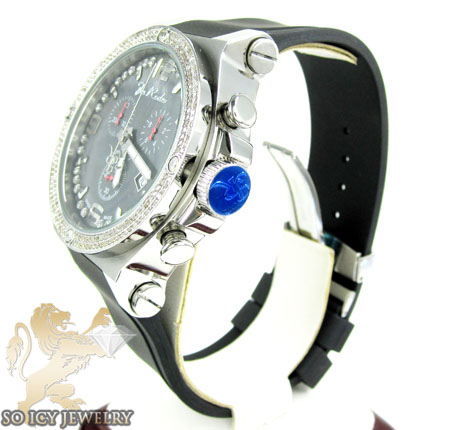 Mens joe rodeo white stainless steel phantom diamond watch 2.25ct
