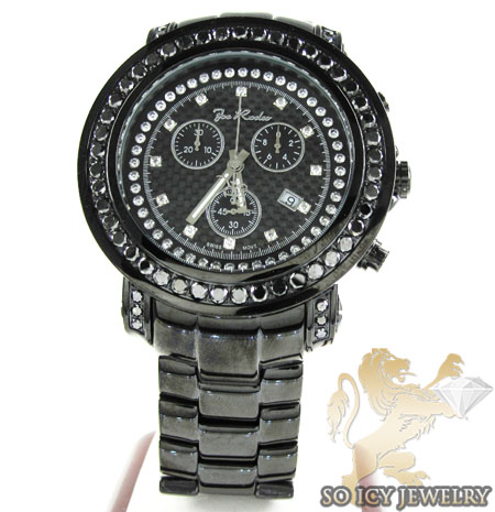 Mens joe rodeo black stainless steel junior diamond watch 6.50ct