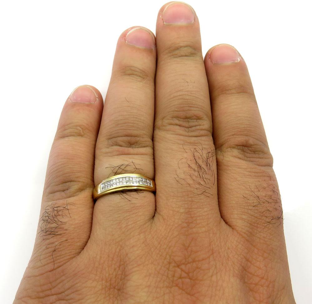 14k yellow gold princess diamond wedding band 0.85ct
