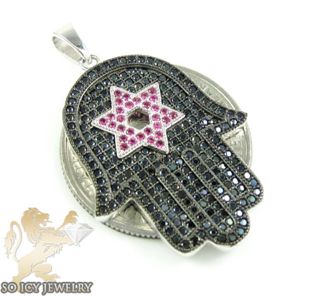 Sterling silver ruby & black cz star of david hamsa pendant 1.50ct