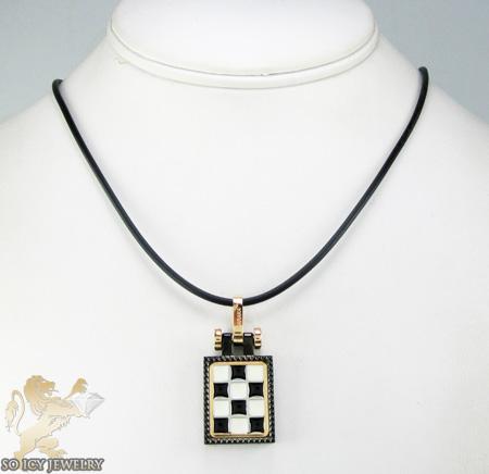 Mens baraka 18k gold & black stainless steel checkered grand prix pendant