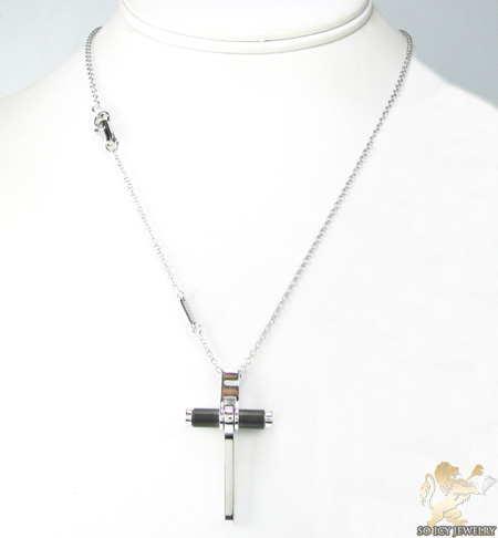 Mens baraka 18k white gold & black stainless steel cross