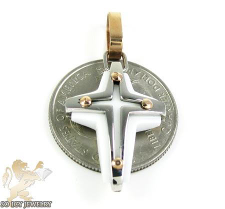 Mens baraka 18k gold & white onyx cross