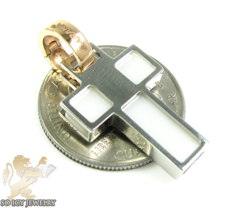 Mens baraka 18k white gold ceramic plate cross