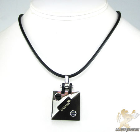 Mens baraka 18k gold & black ceramic pendant