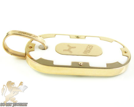 Mens baraka 18k rose gold & white ceramic pisces zodiac dog tag pendant