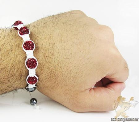 Ruby red rhinestone macramé faceted bead rope bracelet 5.00ct