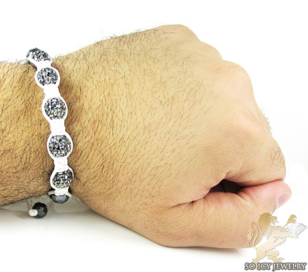 Smoke mirrored rhinestone macramé faceted bead rope bracelet 5.00ct
