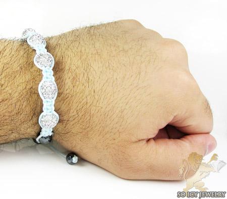 White rhinestone macramé faceted bead rope bracelet 5.00ct