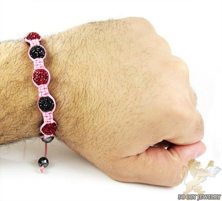 Black & ruby red rhinestone macramé faceted bead rope bracelet 5.00ct