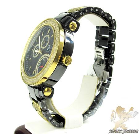 White diamond techno com by kc black ceramic watch 3.00ct
