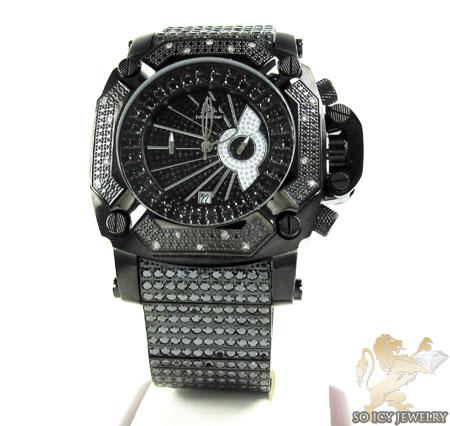 Techno master white diamond & black cz ice wrist watch 20.00ct