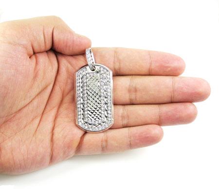 Unisex 10k diamond cut white gold cz dog tag pendant