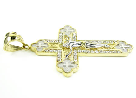 Mens 10k two tone gold jesus cross cz pendant