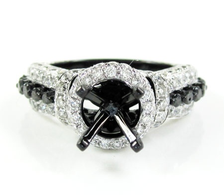 Ladies 10k black gold white & black diamond semi mount ring 2.18ct