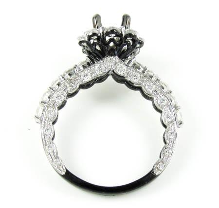 Ladies 14k black gold white & black diamond semi mount ring 2.00ct