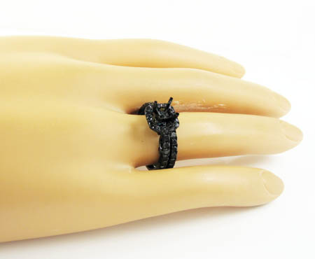 Ladies 10k black gold black diamond semi mount ring 1.40ct