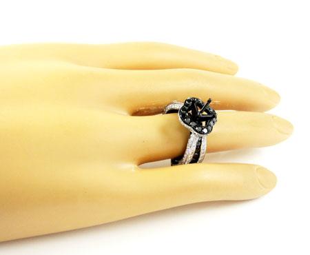Ladies 10k black gold white & black diamond semi mount ring 3.58ct